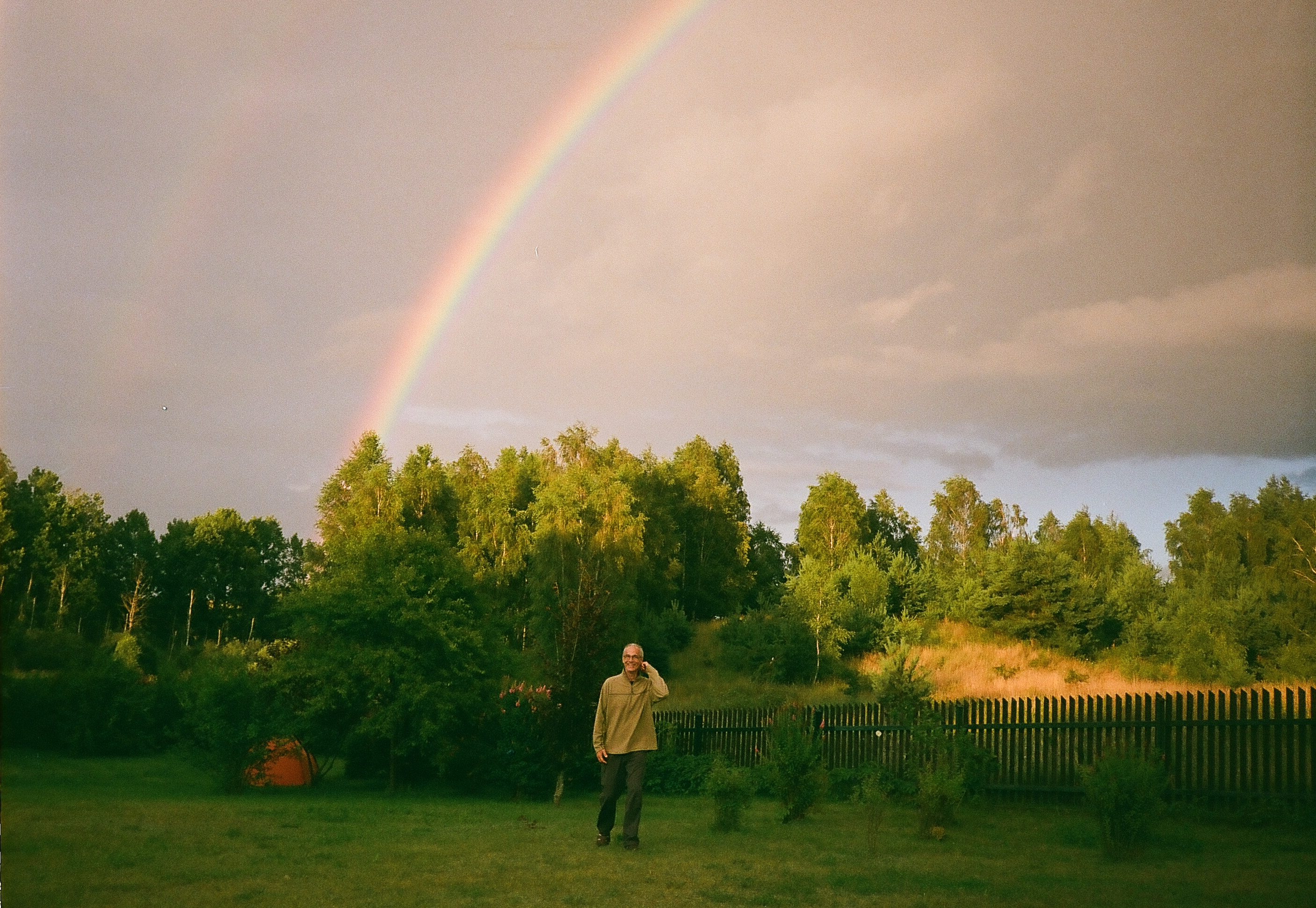 Mike Vargas emerging from rainbow at Burdag dance retreat, northern Poland, July 2016 | photo © NSS